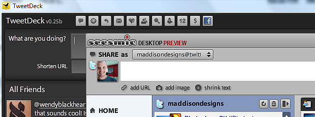 Transfer seesmic desktop and tweetdeck settings
