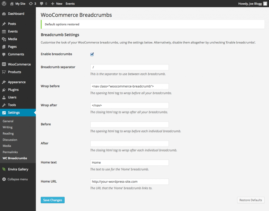 WooCommerce Breadcrumbs Default Settings