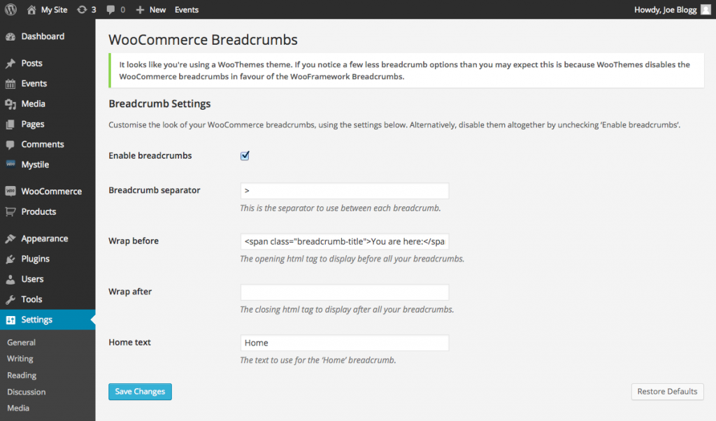 WooCommerce Breadcrumb settings for WooTheme Themes