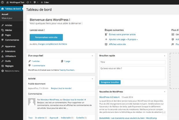 Image showing the WordPress Dashboard in French