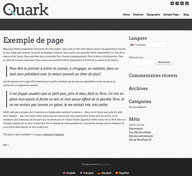 Website page showing translated content
