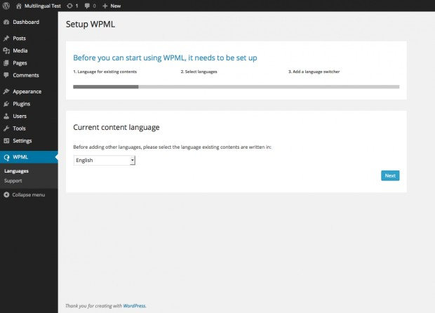 Image of the WPML setup screen for step one