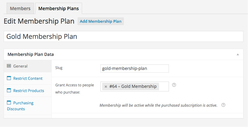 Add Membership Plan
