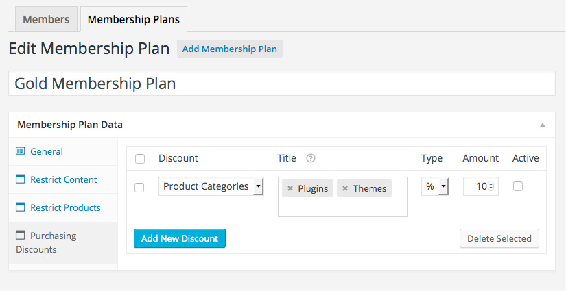 Memberships Purchasing Discounts