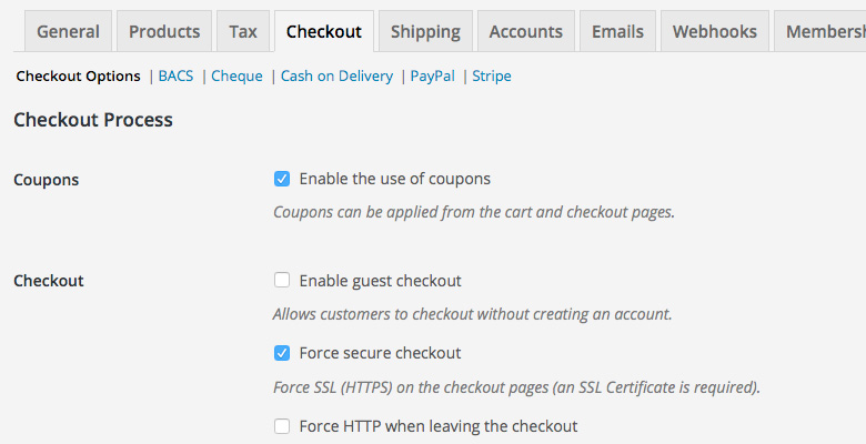 WooCommerce Settings Checkout Options