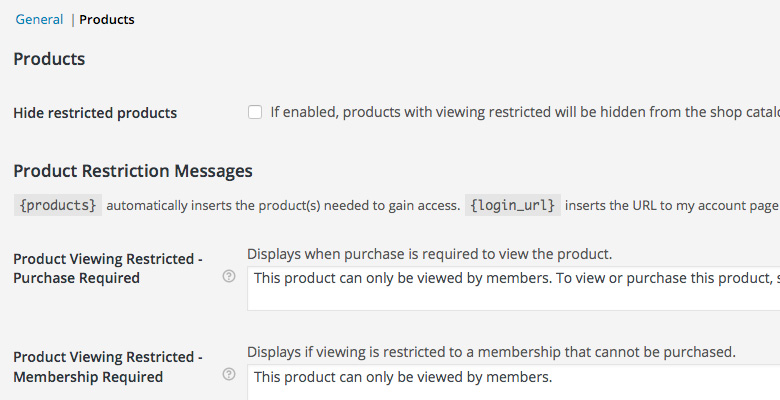 WooCommerce Settings Memberships Products Options