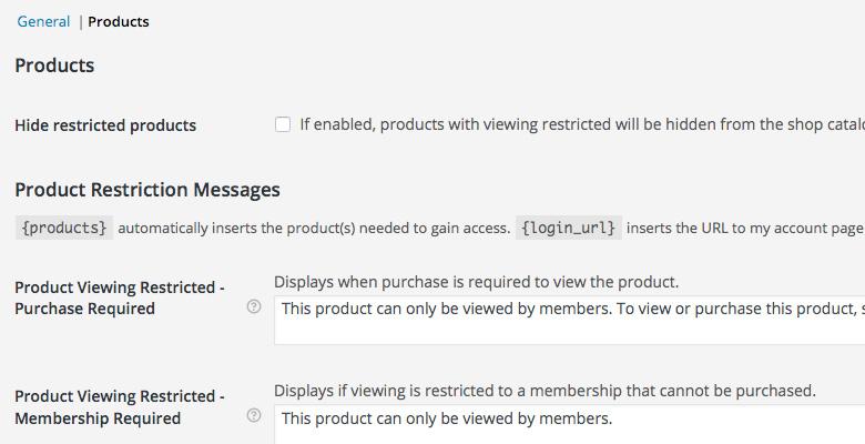 WooCommerce Settings Memberships Products Options