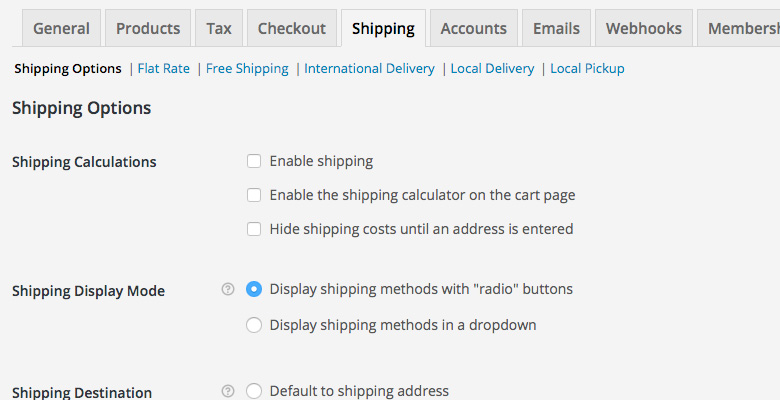 WooCommerce Settings Shipping Options